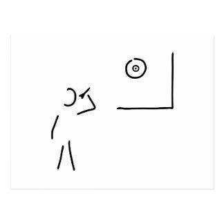 dart player target throw arrow postcard