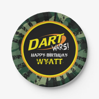 Dart Wars, Camo, Birthday 7 Inch Paper Plate