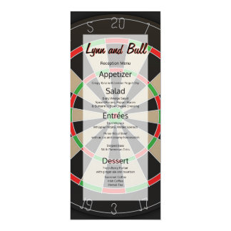 Dartboard Bulls-eye Darts Lover Wedding Menu Card