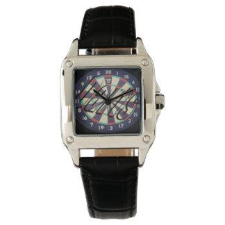 Dartboard Bullseye Logo Ladie Square Leather Watch