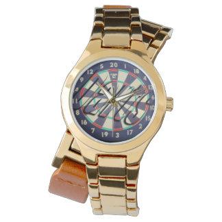 Dartboard Bullseye Logo Ladies Gold Wrap Watch