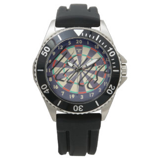 Dartboard Bullseye Logo Mens Rubber Watch