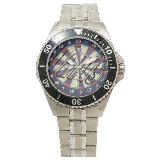 Dartboard Bullseye Logo Mens Stainless Steel Watch