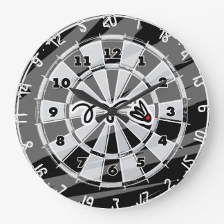 Dartboard wall clock with badminton shuttle