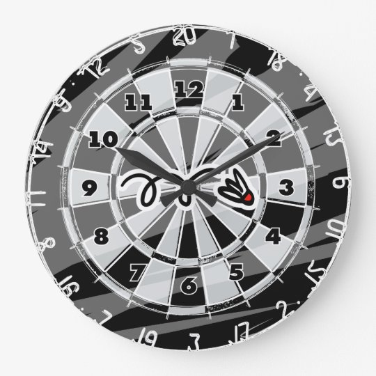 Dartboard wall clock with badminton shuttle