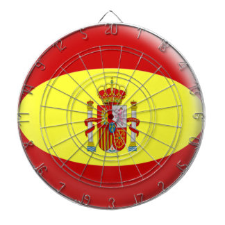 Dartboard with 6 darts  Spain Spanish flag