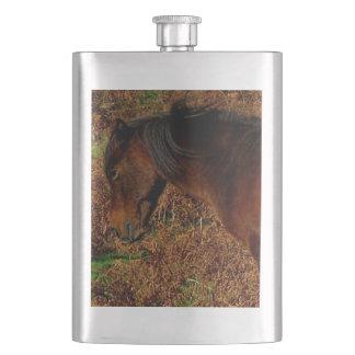 Dartmoor Pony Itching In Bracken Hip Flask