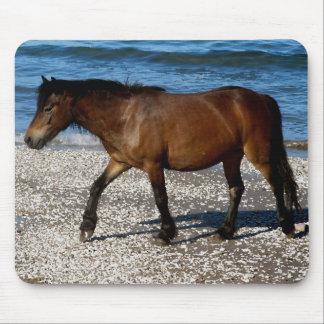 Dartmoor pony walking on remote south Devon beach Mouse Pad