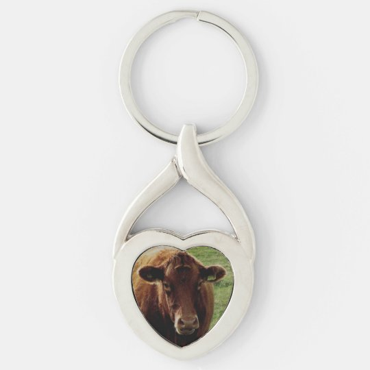 Dartmoor South Devon Cow Looking Silver-Colored Twisted Heart Keychain