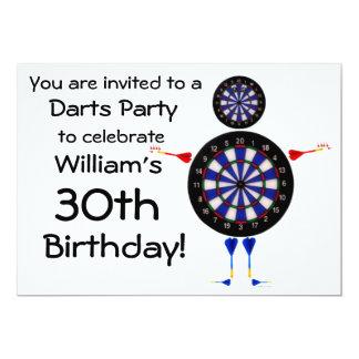 """Darts Birthday Party Invitation 5"""" X 7"""" Invitation Card"""