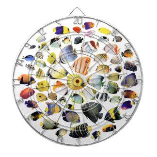 Darts board of seawater fish of tropical region dartboard