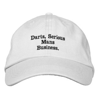 Darts, Serious Mans Business White Embroidered Cap