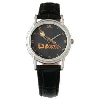 Darts With Golden Dart In Flames With Stylish Text Watch