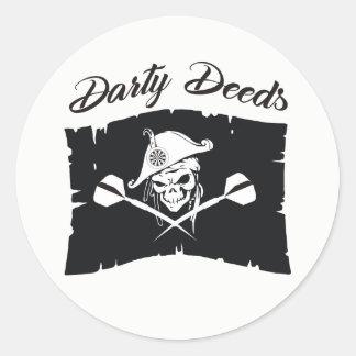Darty Deeds Darts Team Classic Round Sticker