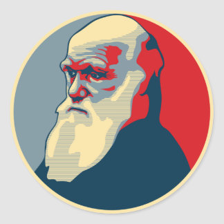Darwin, no text round sticker