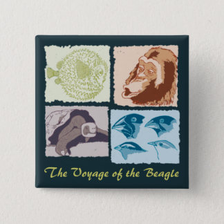 Darwin, The Voyage of the Beagle 2 Inch Square Button