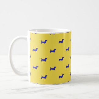 Daschund Mug - Tiled Blue On Orange