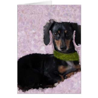 daschund pink thank you card