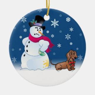 Daschund puppy and Snowman Ceramic Ornament