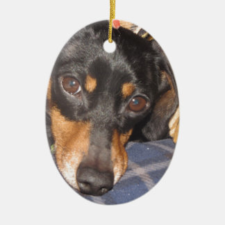 Daschund Weener Dog face Ceramic Ornament