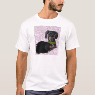Daschund Wiener dog pink green fantasy T-Shirt
