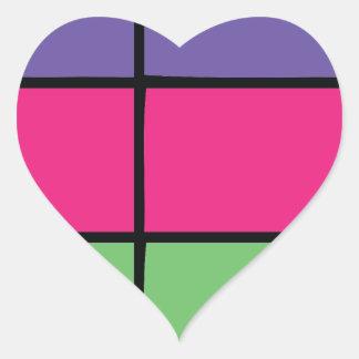 """DASCK_TOP"" Purple, Pink, & Green Square Patter Heart Sticker"