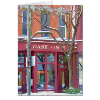 Dash-In restaurant in winter, Fort Wayne, Indiana Card