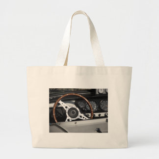 Dashboard of an old british classic car large tote bag