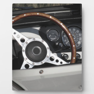 Dashboard of an old british classic car plaque