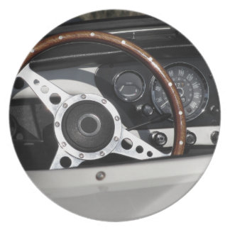 Dashboard of an old british classic car plate