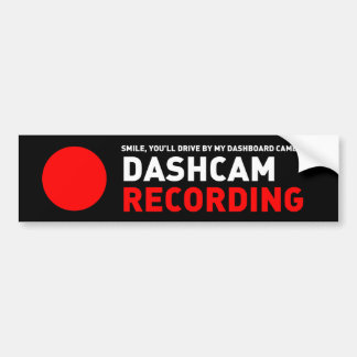 Dashcam Recording Bumper Sticker