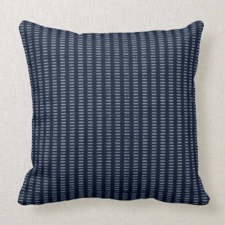 Dashed Stripes - Gray on Navy Blue Throw Pillow