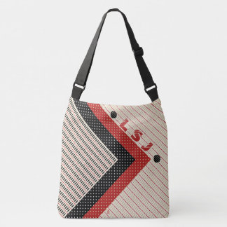 Dashes and Dots - Red Black Cream - Personalized Crossbody Bag