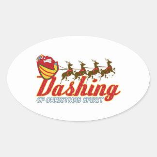 Dashing Of Christmas Spirit Oval Sticker