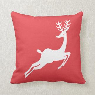 Dashing Reindeer Custom Colour Christmas Holiday Throw Pillow