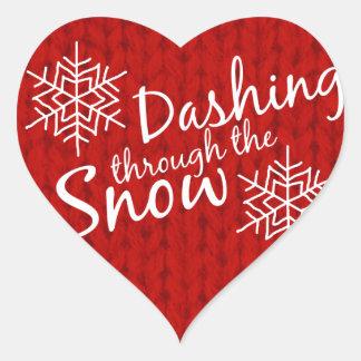 Dashing Through the Snow Heart Sticker
