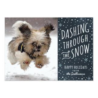 "Dashing Through the Snow Holiday Pet Card 5"" X 7"" Invitation Card"