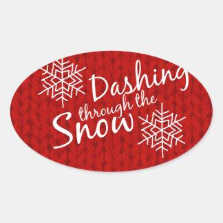 Dashing Through the Snow Oval Sticker