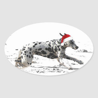 Dashing Through the Snow Oval Sticker
