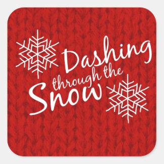 Dashing Through the Snow Square Sticker