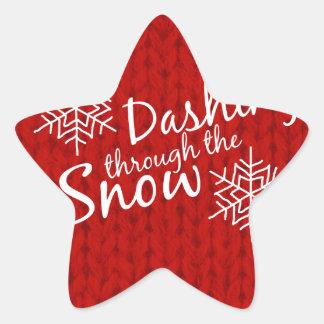 Dashing Through the Snow Star Sticker