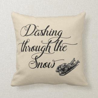 Dashing Through the Snow Vintage Farmhouse Pillow