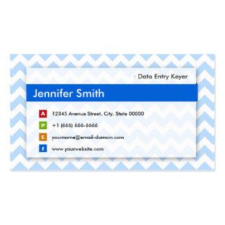 Data Entry Keyer - Modern Blue Chevron Business Card Template