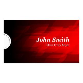 Data Entry Keyer - Modern Dark Red Business Card Template
