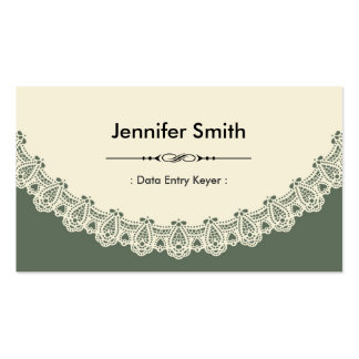 Data Entry Keyer - Retro Chic Lace Business Card Template