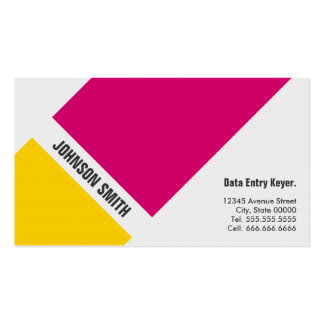 Data Entry Keyer - Simple Pink Yellow Business Card