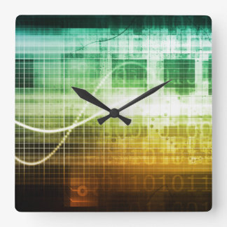 Data Protection and Internet Security Scanning Square Wall Clock