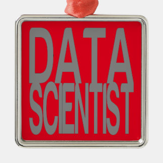 Data Scientist in Tall Silver Text Metal Ornament