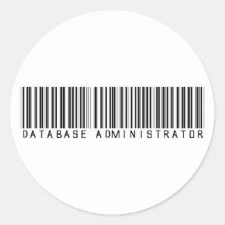 Database Administrator Bar Code Classic Round Sticker