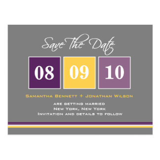 Date Blocks Save The Date - Purple/Yellow Postcard